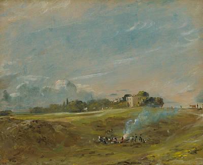 Hampstead Heath With A Bonfire  Art Print by John Constable