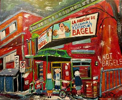 Painting - Hampstead Ladies At The Bagel Factory by Michael Litvack