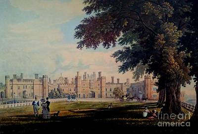Painting - Hampton Court Palace England Original Lithograph 1827 by Michael Hoard