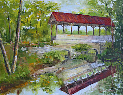Covered Bridge Painting - Hampton Falls Bridge by Barbara Busenbark