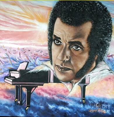 Painting - Blaa Kattproduksjoner       Hampton Hawes -jazz Pianist by Sigrid Tune