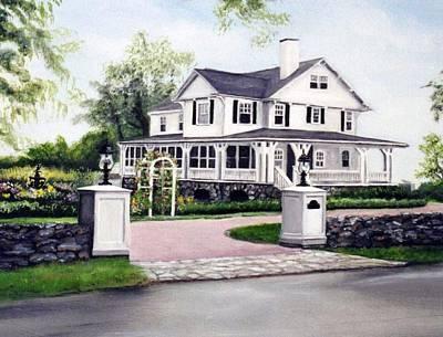 Hampton Home Portrait Art Print by Gail Wurtz
