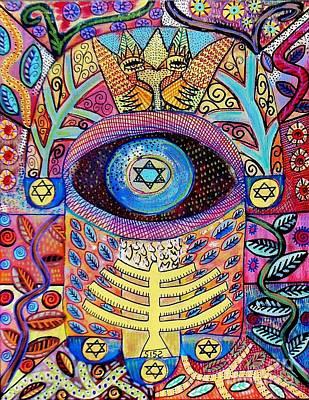 Eastern Europe Painting - -hamsa Menorah Tree Of Life - Bright Lights  by Sandra Silberzweig