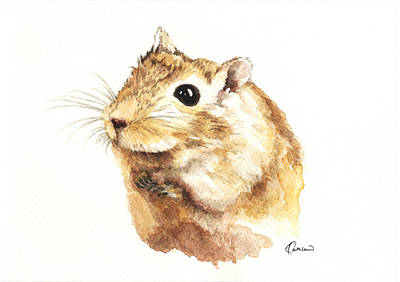 Watercolor Pet Portraits Wall Art - Painting - Hamster by Kathleen Wong