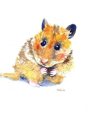 Painting - Hamster Watercolor Painting by Carlin Blahnik CarlinArtWatercolor