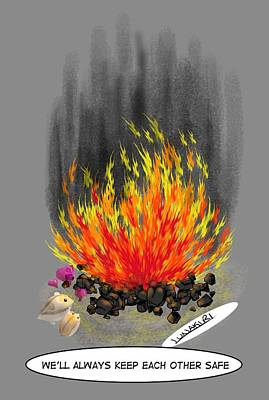 Hamster Drawing - Hamsters By A Fire by Lunakiri