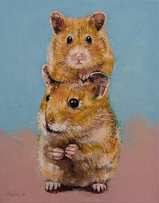 Hamster Painting - Hamsters by Michael Creese