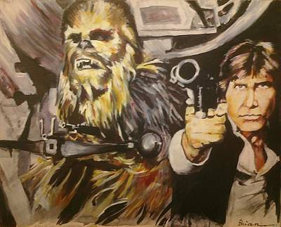 Chewbacca Painting - Han And Chewie by Brian Child