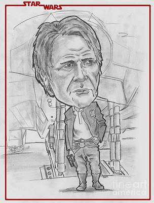 Drawing - Han Solothe Force Awakens by Chris DelVecchio