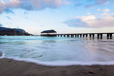 Art Print featuring the photograph Hanalei Bay Pier At Sunrise by Melanie Alexandra Price