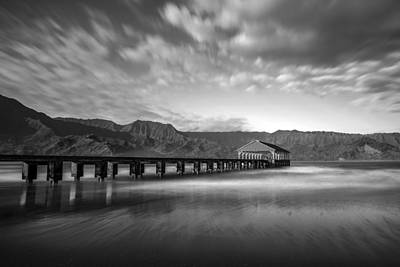 Photograph - Hanalei Bay Pier Bw by Pierre Leclerc Photography