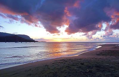Hanalei Bay Sunset Kauai Art Print