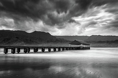 Photograph - Hanalei Pier In Black And White by Pierre Leclerc Photography