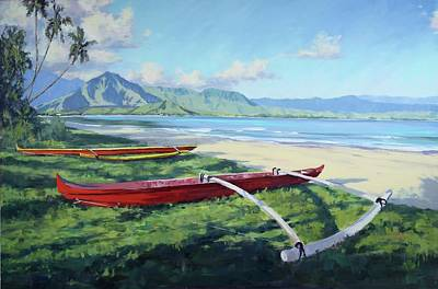 Outrigger Painting - Hanalei Rides by Pierre Bouret