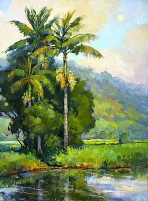 Painting - Hanalei River Moonrise by Jenifer Prince