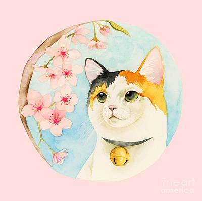 Painting - Hanami - Calico Cat And Cherry Blossom by NamiBear
