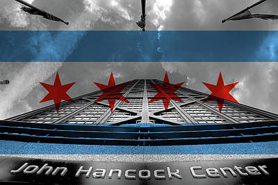 Chicago Flag Digital Art - Hancock And Flag by Adam Oles