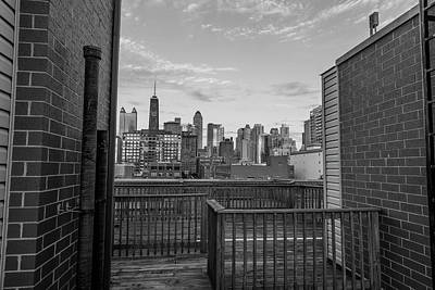 Photograph - Hancock And Rooftop Black And White  by John McGraw