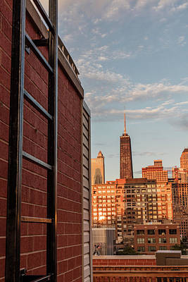 Photograph - Hancock Tower And Ladder Chicago  by John McGraw