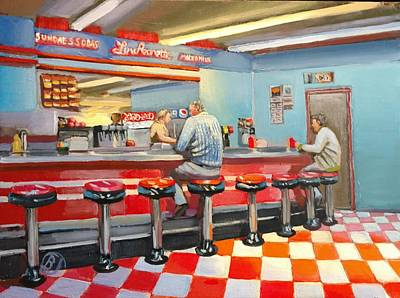Drug Stores Painting - Hancock's Soda Shoppe by Brian Johnson