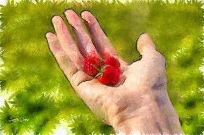 Raspberry Digital Art - Hand And Raspberries - Pa by Leonardo Digenio