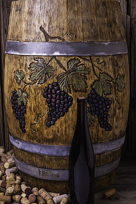 Grape Leaves Photograph - Hand Carved Wine Barrel by Garry Gay