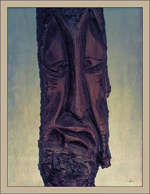 Mixed Media - Hand Carved Wooden Face II by Maciek Froncisz