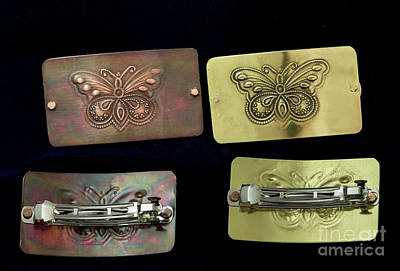 Hand Crafted Hair Barrette With Butterfly Design Original