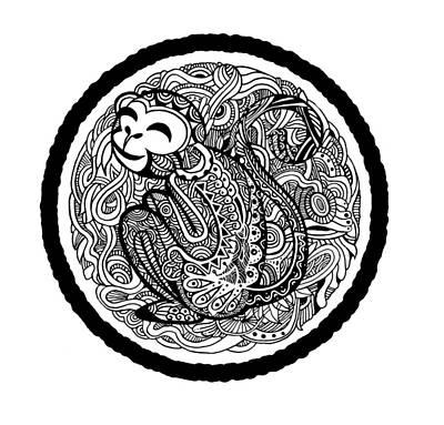 Wildlife Celebration Drawing - Hand Drawing Monkey Avatar, Chinese Zodiac Sign by Pakpong Pongatichat