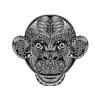 Wildlife Celebration Drawing - Hand Drawing Monkey Head Avatar, Chinese Zodiac Sign by Pakpong Pongatichat