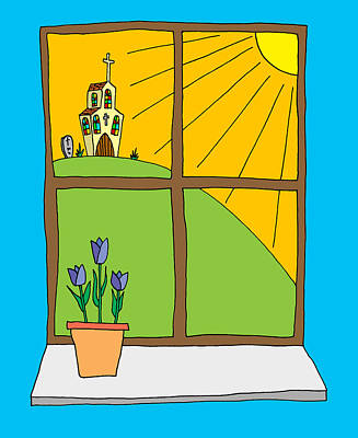 Hand Drawn Cartoon Style Doodle Illustration Of Spring Tulips On Art Print by Matthew Gibson