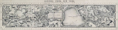 Photograph - Hand Drawn Central Park Map 1865 by Daniel Hagerman