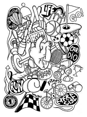 Hand Drawn Doodle Sport Equipment, Illustrator Line Tools Drawin Art Print by Pakpong Pongatichat