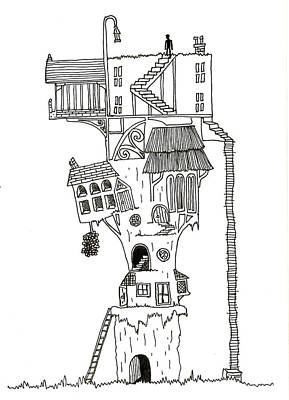 Whimsical Drawings Photograph - Hand Drawn Line Drawing Of Enchanted Fantasy Style Treehouse by Matthew Gibson