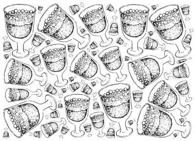 Beer Drawings - Hand Drawn of Swedish Christmas Drink Julmust Background  by Iam Nee