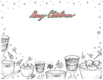 Beer Drawings - Hand Drawn of Traditional Christmas Risalamande and Julmust Frame by Iam Nee