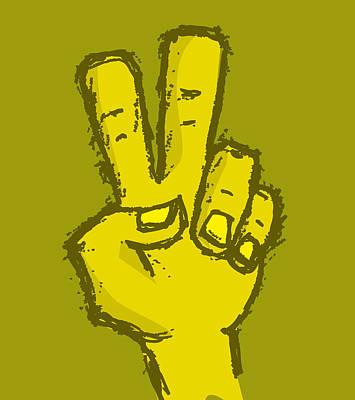 Digital Art - Hand Drawn Peace Hand by David Holm