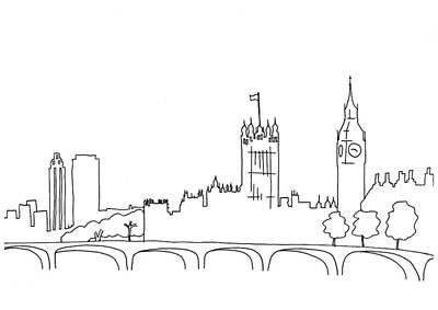Whimsical Drawings Photograph - Hand Drawn Sketch Illustration Of London Landscape Including Big by Matthew Gibson