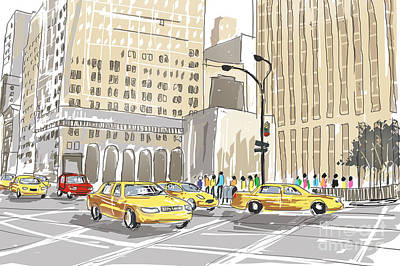 Business Cartoons Photograph - Hand Drawn Sketch Of A Busy New York City Street by Jorgo Photography - Wall Art Gallery