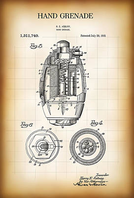Trench Digital Art - Hand Grenade Patent  1919 by Daniel Hagerman
