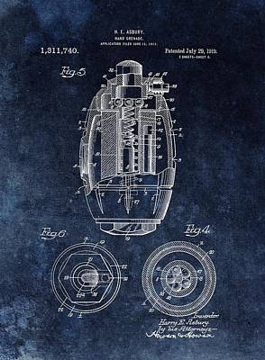 Artillery Mixed Media - Hand Grenade Patent Drawing by Dan Sproul