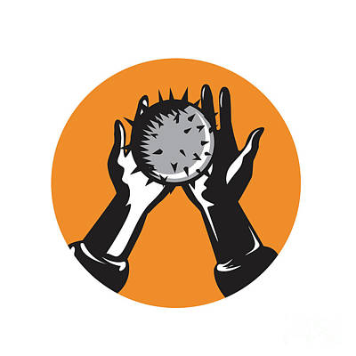 Hand Holding Ball With Spikes Circle Woodcut Art Print by Aloysius Patrimonio