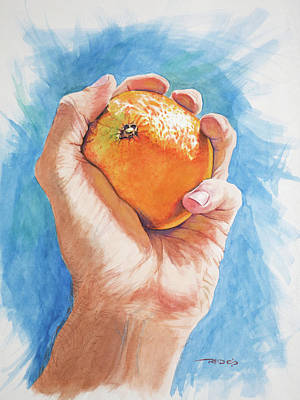 Painting - Hand Holding Orange by Christopher Reid