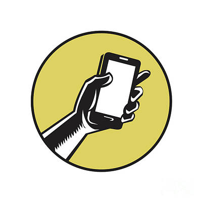 Hand Holding Smartphone Circle Woodcut Art Print by Aloysius Patrimonio