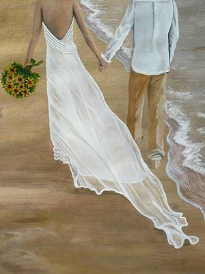 Bride And Groom Painting - Hand In Hand by Kris Crollard