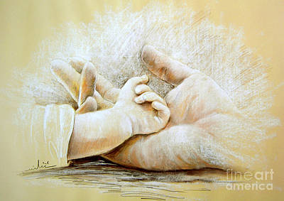 Pastel Drawing Drawing - Hand In Hand by Miki De Goodaboom