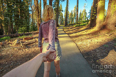 Hand In Hand Sequoia Hiking Art Print