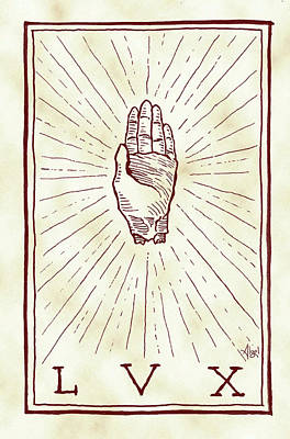 Drawing - Hand Of Glory LVX by Bard Algol