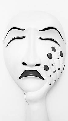 Photograph - Hand On Face Mask Black White by Rob Hans