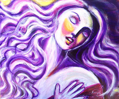 Art Print featuring the painting Hand On Heart by Anya Heller